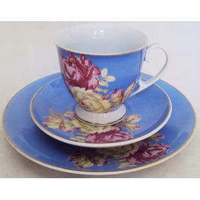 Xícara Café / Chá E Prato De Pão Porcelana Polovi Azul