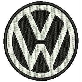 Patch Bordado Lm059 Logo Vw Wolks Preto Branco 7cm Car