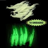 Iscas Artificiais Camarão Silicone Fluorescente 10 Unidades