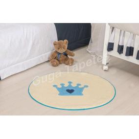 Tapete Infantil Pelúcia Quarto De Bebe Baby Coroa Azul