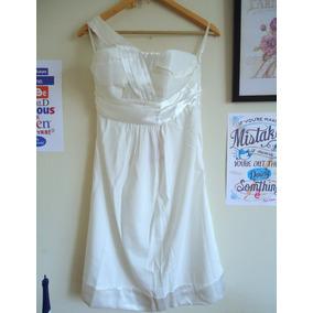 Vestido Branco Com Drapeado De Cetim, Uma Alça E Bojo M