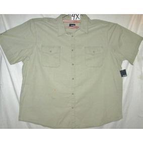 Camisa Casual Beige- Verdoso Cazador Talla 4x Basic Edition