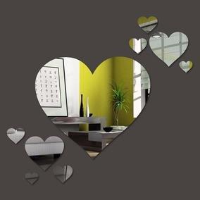 Kit Com 7 Espelhos Decorativos Coração Autentico E08