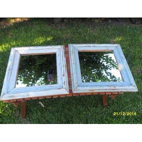 Espejo Con Antiguo Contramarco En Pino Oregon Moldura Alta