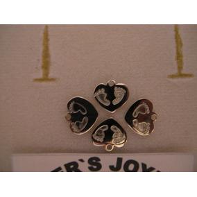 $316 Corazón Con Huellas Grabadas Plata Ley 950 + Dhl Expres