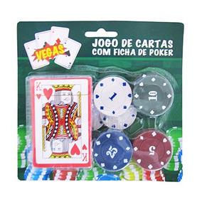 Jogo De Cartas Baralho Com 24 Ficha De Poker, Pronta Entrega