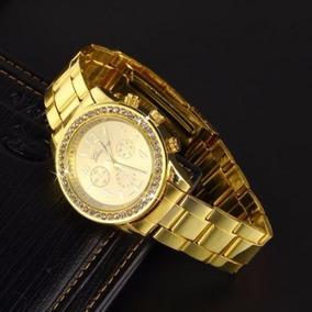 Reloj Quarzo Mujer Geneva Cristal Acero Inoxidable Dorado