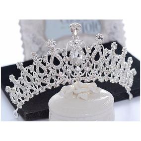 Coroa Noiva Tiara Veu Prata Strass Casamento Princesa Miss