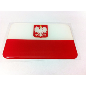 Adesivo Resinado Da Bandeira Da Polônia Com Brasão 9cm X 6cm
