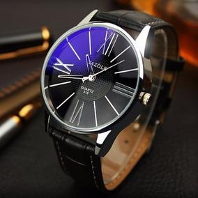 Relógio De Luxo Azul De Vidro Dial Pulseira Em Couro Yazole
