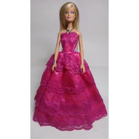 Roupas Para Boneca Barbie (vestido Rosa + 1par De Sapatinho)