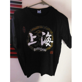 Camisa Playera Art Dragon Shangai Black Negra Moda Fashion