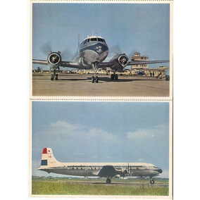Cartão Postal 2 Aviação Douglas + Convair Klm Holanda 1950.