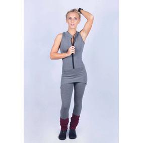 Macacão Fitness Feminino Sainha Confortavel Cinza Mescla a0b4182272c81