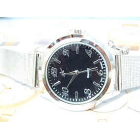 Relógio De Pulso Potenzia Prata Lindo Fundo Preto