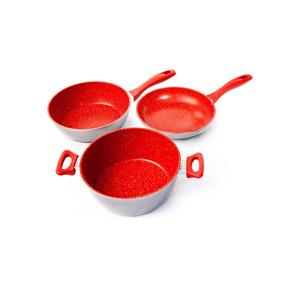 Trio De Panelas Gourmet Plus Flavorstone + 1 Tampa 24 Cm