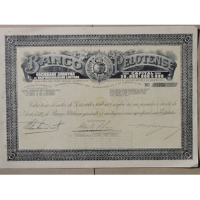 Banco Pelotense Apolice 200 Mil Réis 1920