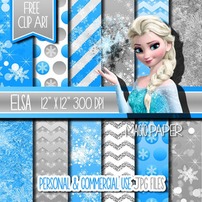 Kit Papel Scrapbook Digital - Elsa Frozen - Envio Rapido