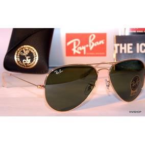 Ray Ban Aviator Rb3026 Color Verde Botella Con Borde Dorado ... 14503a2329
