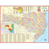 Mapa Estado Santa Catarina-político-117 X 89 Cm-frete Grátis