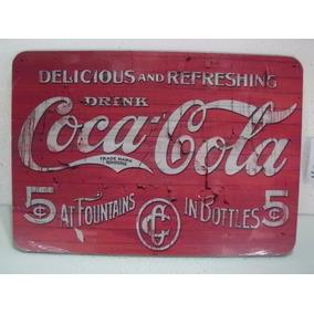 Poster Painel Retrô Coca Cola - Mdf - 41 Cm X 21 Cm - R 4954