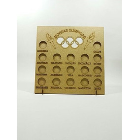 04 Quadro Coleção Moedas Olimpíadas - 23,5x4x24,5 - Mdf