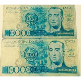 Lote Com 2 Notas De 100000 Cruzeiros, Carimbo 100 Cruzados.