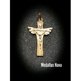 Cruz Plata 925 Dios Padre Hijo Y Espiritu Santo Con Baño Oro