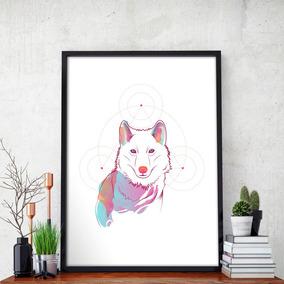 Pôster Lobo Decorativo - Tamanho A3