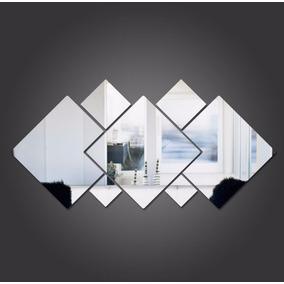 Kit 7 Espelhos Decorativos Quadrados Sala Quarto E05