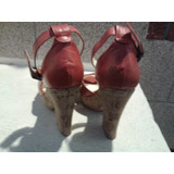 8d774634 Sandalias De Zara Cuero Rojas Con Plataforma Y Pulsera