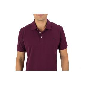 Camisetas Tipo Polo Algoodon Tres Botones Vino Tinto