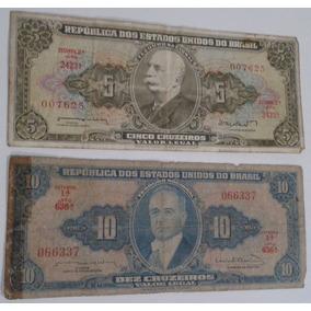 Dinheiro Antigo, Coleção, 2 Cédulas + Frete Pago.