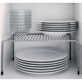 Set 4 Organizadores Alacena Gris Aluminio Estante Reforzado