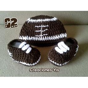 11514c2ab32ca Conjunto Fútbol Americano Zapatos Y Gorro Crochet Tejidos Bb