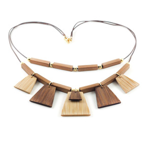 Egito - Colar Artesanal Em Bambu E Ouro - Biojoia