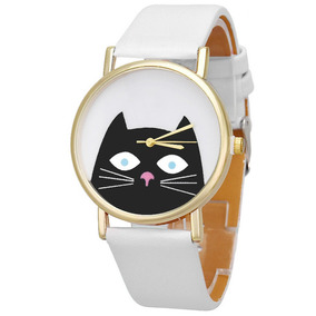 Relógio Branco Gato Gatinho Lindo