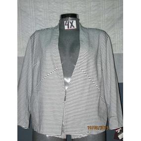 Saco De Vestir Blanco Con Lineas En Talla 4 X Extragrande