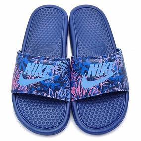 Nike Benassi Jdi Print Mujer - Azul Y Violeta