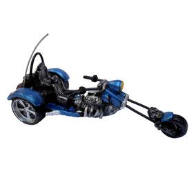 Moto Custom Miniatura Triciclo Em Resina - Harley Davidson