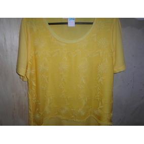 Blusa Amarela De Viscose Com Detalhe Em Renda Tam G