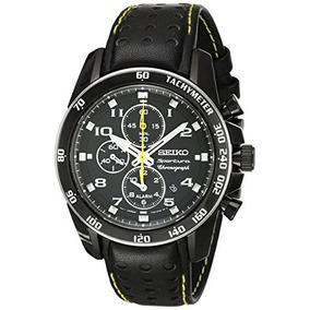 5217d01ec257 Reloj Seiko Sportura Snae67 Negro Piel Zafiro Buen Estado