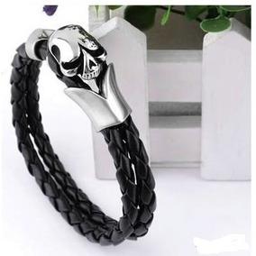Pulseira Bracelete Masculino Couro Skull
