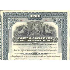 Apólice Prefeitura Do Distrito Federal 1906
