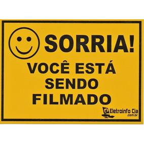 Placa Sorria Você Está Sendo Filmado 17,8x12,6cm Alumínio