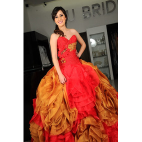 Vestidos de xv rojo y dorado