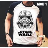 Camisa/camiseta Raglan Star Wars Stormtrooper Darth Vader
