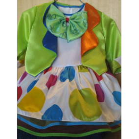 Coqueto Disfraz Payasita 2 Vestidos En 1 Con Accesorios! Pyf