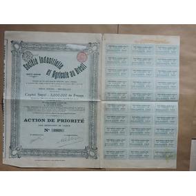 Belgica Apolice Soc Ind Agricole Bresil 250 Francs 1906