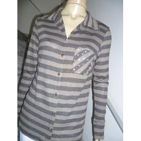 Blusa De Malha Estilo Camisa Um Bolso Com Brilhos &